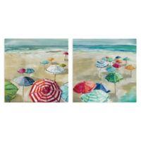 Carol Robinson Walk on the Beach Coastal 16-Inch Square Wrapped Canvas Set of N/A