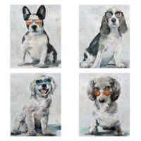 Masterpiece Art Gallery Shady Pups 11-Inch x 14-Inch Canvas Wall Arts Set of 4