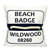 Wildwood Beach Badge Square Throw Pillow in Navy