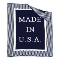 """BK KNITS """"Made in USA"""" Blanket in Navy/White"""