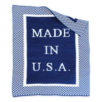 """BK KNITS """"Made in USA"""" Blanket in Royal/White"""