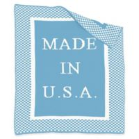 """BK KNITS """"Made in USA"""" Blanket in Blue/White"""