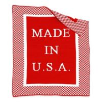 """BK KNITS """"Made in USA"""" Blanket in Red/White"""