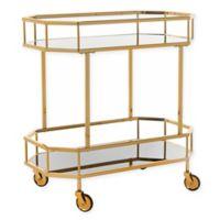 Safavieh Silva 2-Tier Octagon Bar Cart in Brass