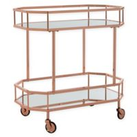 Safavieh Silva 2-Tier Octagon Bar Cart in Rose Gold