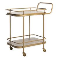 Safavieh Gaia 2-Tier Rustic Bar Cart in Oak/Gold