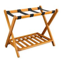 Casual Home Folding Luggage Rack with Shelf in Honey Oak