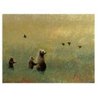 Masterpiece Art Gallery Blackbirds and Bear Family 18-Inch x 24-Inch Canvas Wall Art