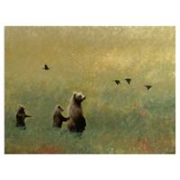 Masterpiece Art Gallery Blackbirds and Bear Family 18-Inch x 24-Inch Canvas Wall Art
