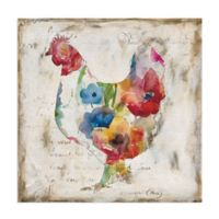Masterpiece Art Gallery Flowered Hen 20-Inch Square Canvas Wall Art