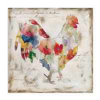 Masterpiece Art Gallery Flowered Rooster 20-Inch Square Canvas Wall Art