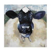 Masterpiece Art Gallery Cow Tale Light 16-Inch Square Canvas Wall Art