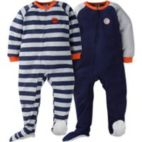 Gerber® Size 12M 2-Pack Sport Stripes Footie Pajamas in Blue/Grey