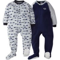Gerber® Size 4T 2-Pack Arrow Footie Pajamas in Blue/Grey