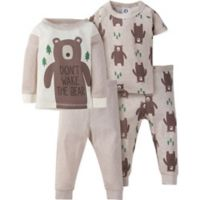 "Gerber® Size 12M 4-Piece ""Don't Wake The Bear"" Pajama Set in Oatmeal"