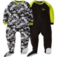 Gerber® Size 3T 2-Pack Camo Footie Pajamas in Green/Grey