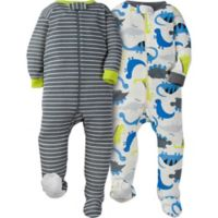 Gerber® Size 3M 2-Pack Dinosaur Footie Pajamas in White/Grey