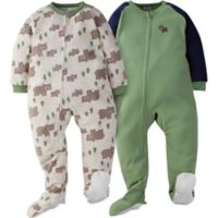 Gerber® Size 4T 2-Pack Wild Bear Footie Pajamas in Oatmeal/Green