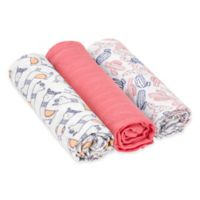 Lassig® Heavenly Soft Glama Lama 3-Pack Swaddle & Burp Cloth Set in Coral
