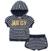 Juicy Couture® Size 2T 2-Piece Striped Hooded Top and Short Set in Navy