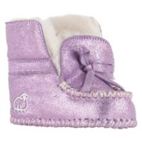 Lamo Size 0-3M Glitter Suede Moccasin in Purple