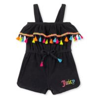Juicy Couture® Size 3-6M Neon Tassel Romper in Black