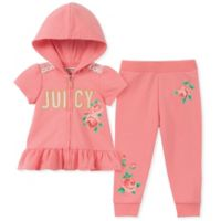 Juicy Couture® Size 6-9M Floral Short Sleeve Zip-Front Hoodie and Legging Set in Pink