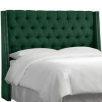 Skyline Furniture Tufted Linen Twin Wingback Headboard in Conifer Green