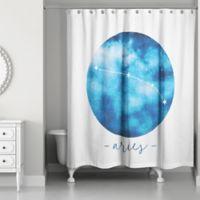 Designs Direct Aries Zodiac Sign Constellation Shower Curtain in Blue