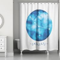 Designs Direct Cancer Zodiac Sign Constellation Shower Curtain in Blue