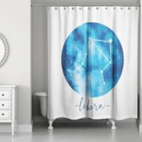 Designs Direct Libra Zodiac Sign Constellation Shower Curtain in Blue
