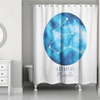 Designs Direct Aquarius Zodiac Sign Constellation Shower Curtain in Blue