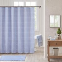 Bee & Willow™ Home Worthington Shower Curtain in Blue/White