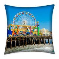 Destination Summer Santa Monica Pier Indoor/Outdoor Square Throw Pillow