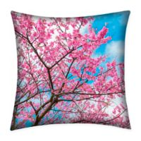 Destination Summer Cherry Blossom Indoor/Outdoor Square Throw Pillow