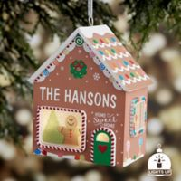 Gingerbread House Personalized Light-Up Christmas Ornament