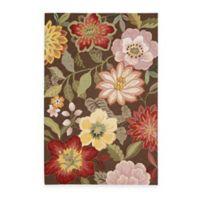 Nourison Fantasy Wild Flower 3-Foot 6-Inch x 5-Foot 6-Inch Area Rug in Chocolate