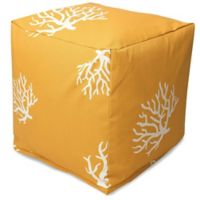 Majestic Home Goods™ Polyester Coral Ottoman in Yellow