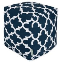 Majestic Home Goods™ Polyester Trellis Ottoman in Navy