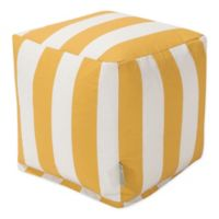 Majestic Home Goods™ Polyester Vertical Stripe Ottoman in Yellow