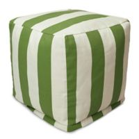 Majestic Home Goods™ Polyester Vertical Stripe Ottoman in Sage