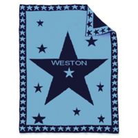 Star Center Baby Blanket in Blue/Navy