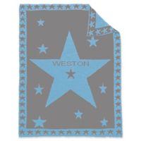 Star Center Baby Blanket in Grey/Blue