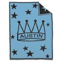 BK KNITS Crown Stars Baby Blanket in Blue/Grey