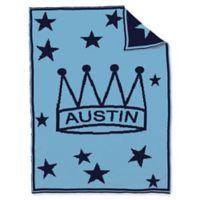 BK KNITS Crown Stars Baby Blanket in Blue/Navy