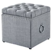 Inspired Home Linen Agripina Ottoman in Light Grey