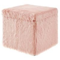Inspired Home Faux Fur Emme Ottoman in Blush