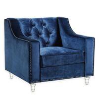 Inspired Home Velvet Jagger Chair in Navy