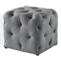 Inspired Home Linen Cecil Ottoman in Light Grey