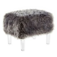 Inspired Home Faux Fur Wayne Ottoman in Grey